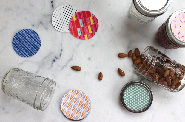All lids and almond jar