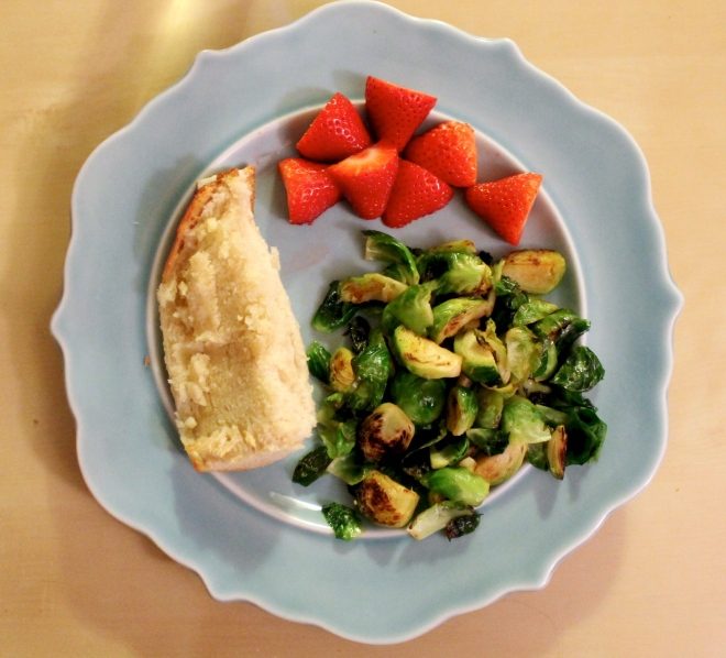 brussel sprouts and garlic bread