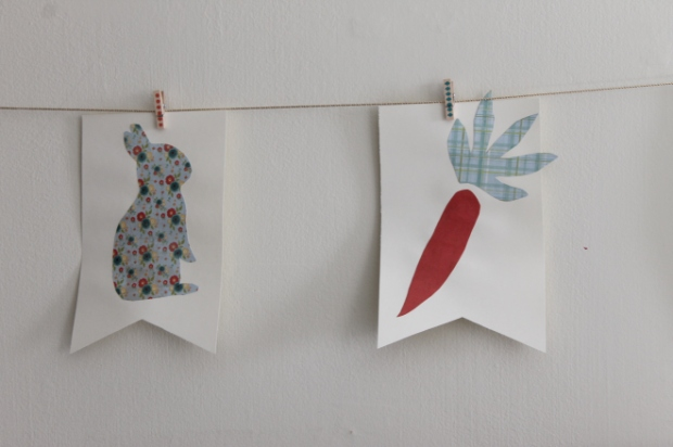 bunny and carrot bunting flags