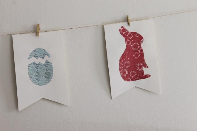 egg and bunny bunting flag