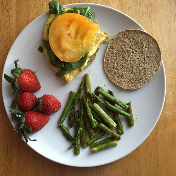 Egg sandwich with asparagus