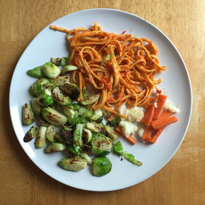 red pepper pasta and brussel sprouts