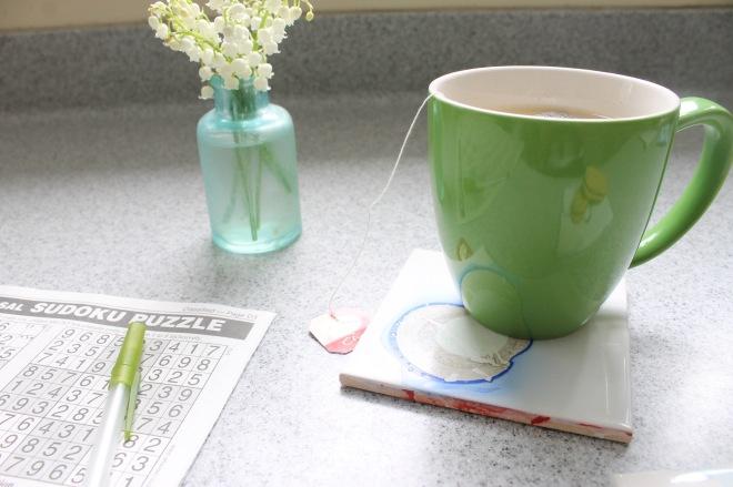 marble coaster with mug