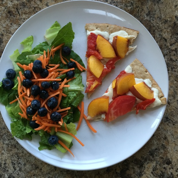 Peach pizza and salad