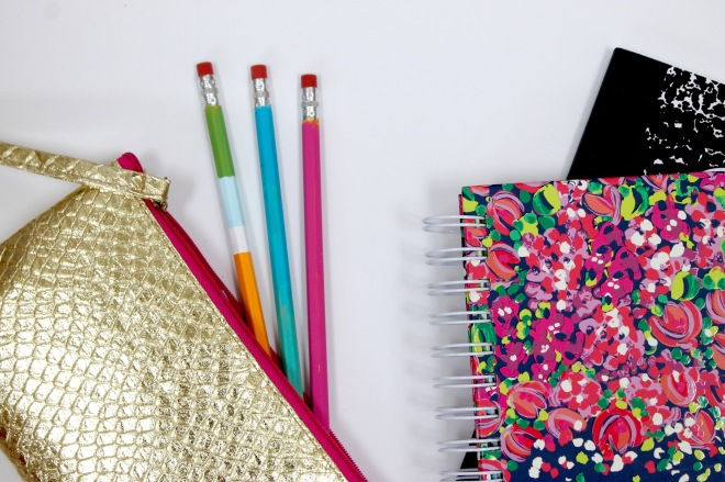 Color Blocked and Ombre painted wooden pencils perfect for back to school