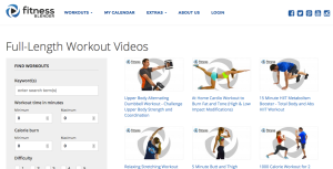 Fitness Blender home page