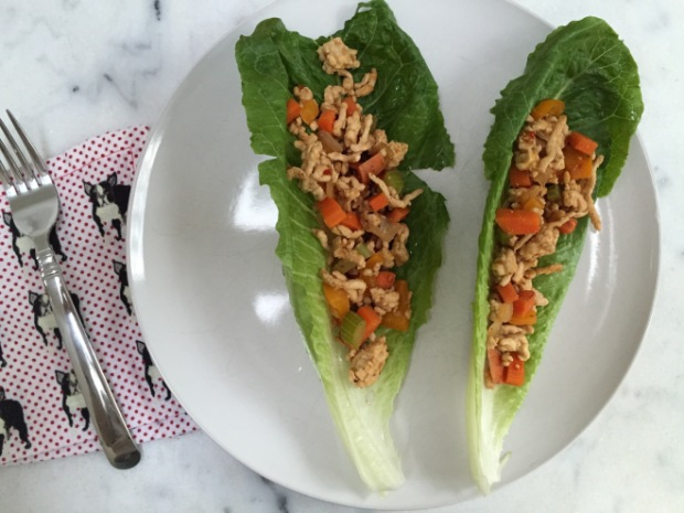 Lettuce wraps WIAW dinner | popcorn and chocolate
