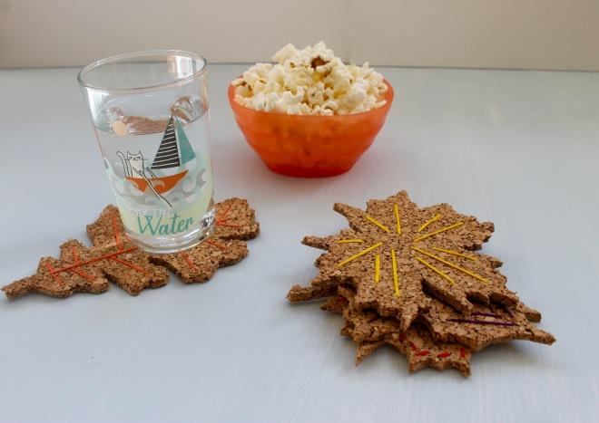 DIY cork board embroidered leaf coasters   Popcorn & Chocolate