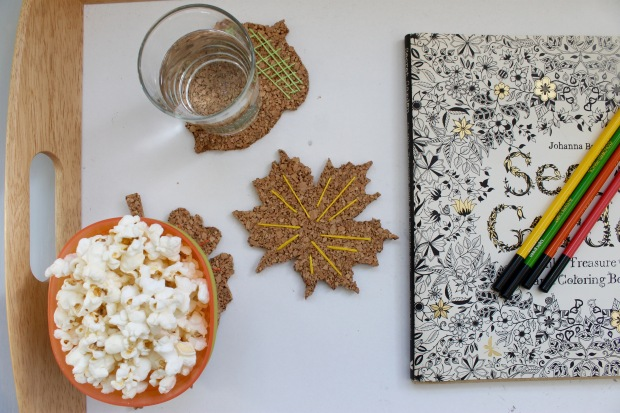 DIY cork board embroidered leaf coasters | Popcorn & Chocolate