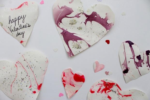DIY Valentine's Day Marbled Hearts | Popcorn & Chocolate