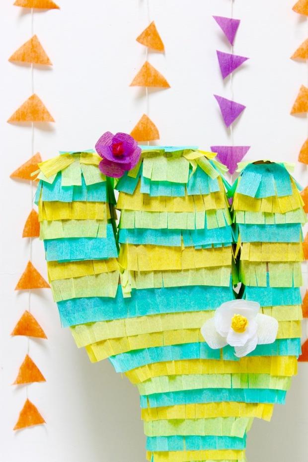 Cactus Piñata made out of cardboard | Popcorn & Chocolate