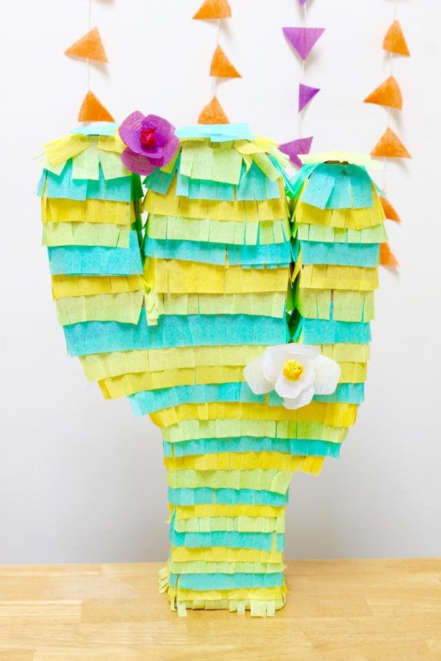 Cactus Piñata with flowers   Popcorn & Chocolate