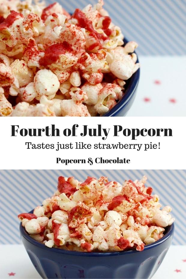 Strawberry Pie Fourth of July Popcorn | Popcorn & Chocolate