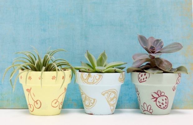 DIY Stamped Clay Flower Pots | Popcorn & Chocolate