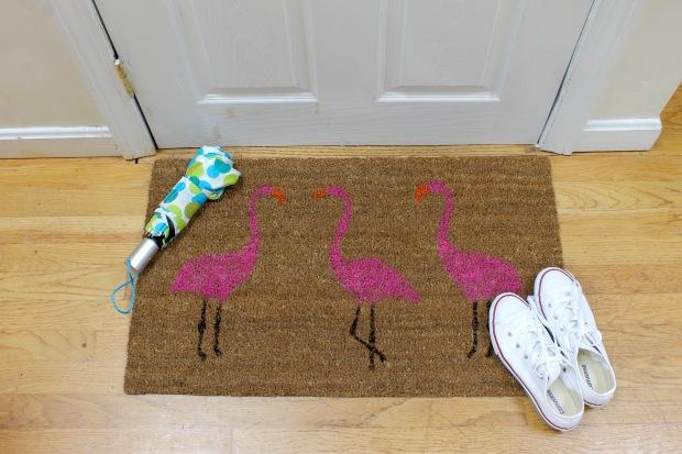 Pink flamingo painted doormat | Popcorn & Chocolate