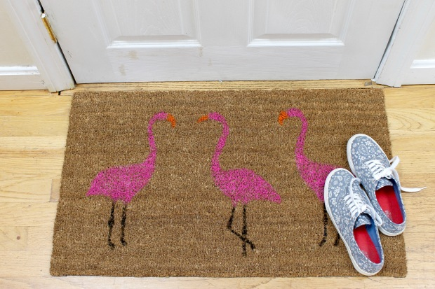 summer pink flamingo painted doormat | Popcorn & Chocolate