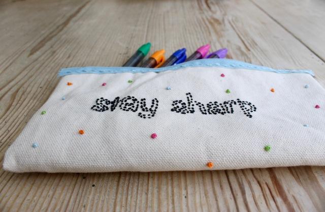 DIY embroidered pencil case | Popcorn & Chocolate
