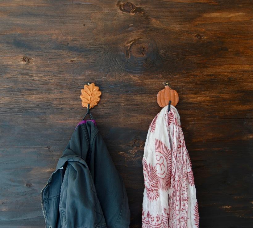 Leaf and pumpkin wall hooks