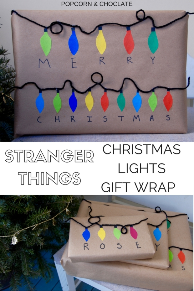 Christmas lights gift wrap inspired by Stranger Things   Popcorn and Chocolate