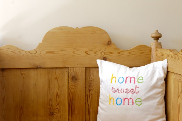 Embroidered home sweet home pillow | Popcorn and Chocolate
