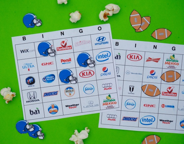 Free Super bowl commercial bingo boards
