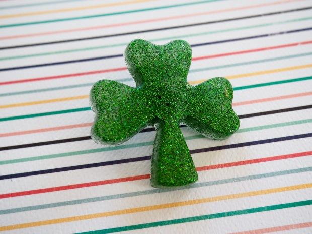 St. Patrick's day glittery resin shamrock pin   Popcorn and Chocolate